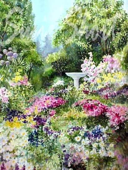watercolor gardens flower garden paintings by susie short - Flower Garden Paintings