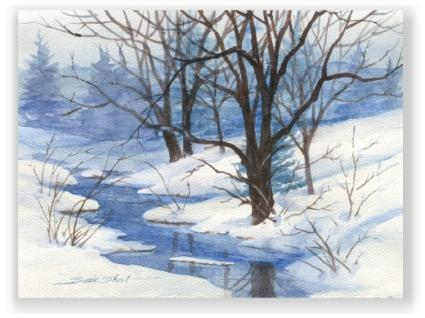 Susie 39 s monthly give away free watercolor greeting cards Christmas card scenes to paint