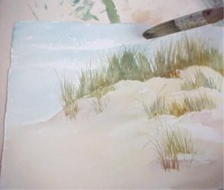 painting sand with watercolor adding the sky