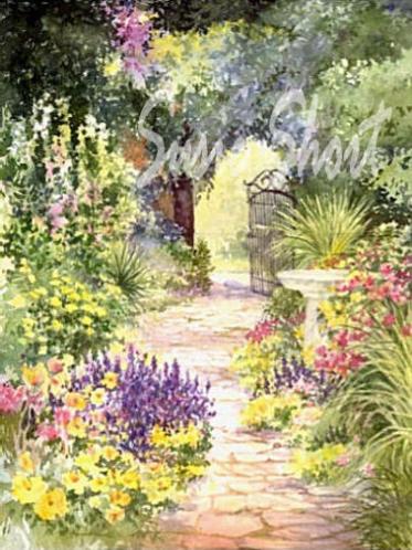 Watercolor Gardens Flower Garden Paintings by Susie Short
